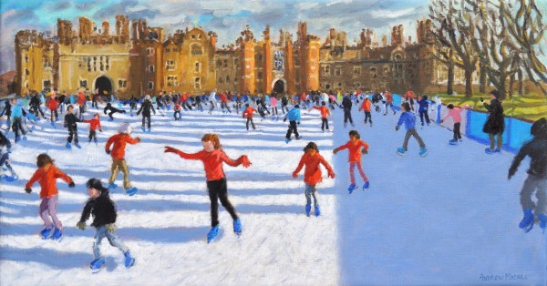 Andrew Macara Girls in Red, Hampton Court Palace Ice Rink Oil on linen 16 x 30ins (40.6 x 76.2cm) (artwork size) 17.72 x 31.89ins (45 x 81cm) (framed size)