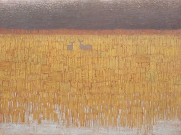 David Grossmann Deer in Golden Winter Grass signed (bottom left) oil on panel 18 x 24ins (45.7 x 60.9cm)