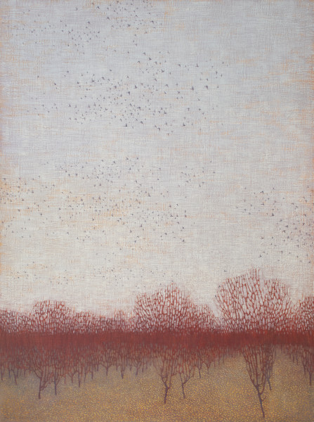 David Grossmann, Dormant Orchard with Gathering Birds