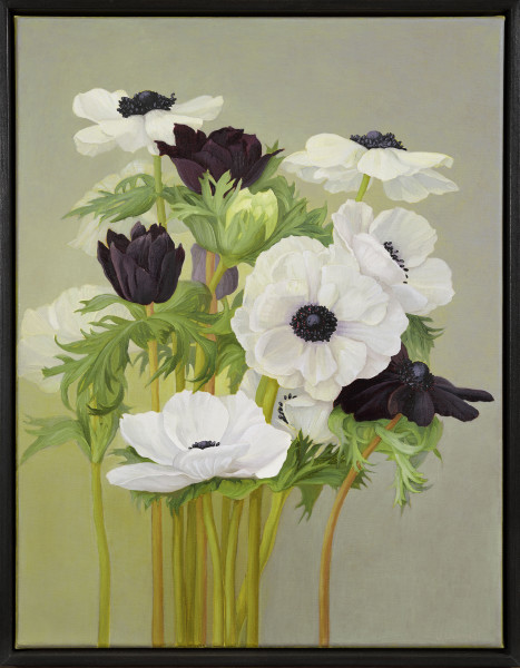 Jane Wormell Anemones, 2020 Oil on linen 18.11 x 13.78ins (46 x 35cm) (artwork size) 18.9 x 14.84ins (48 x 37.7cm) (framed size)