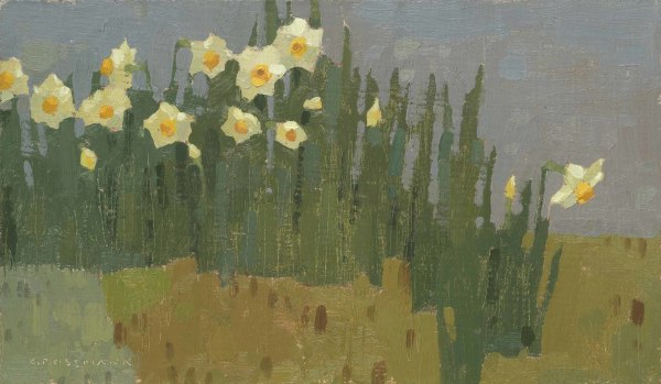 David Grossmann  Garden Daffodils  Oil on linen over panel  7 x 12ins (17.8 x 30.5cm)