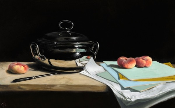 James Gillick, Silver Pot, Paper, Doughnut Peaches & Knife