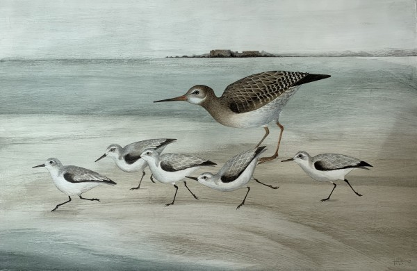 Harriet Bane Sanderling and Redshank Watercolour and acrylic on plaster 17.75 x 25.25ins (45 x 64cm)