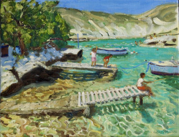 Andrew Macara, Fishing from the jetty, Milos, Greece