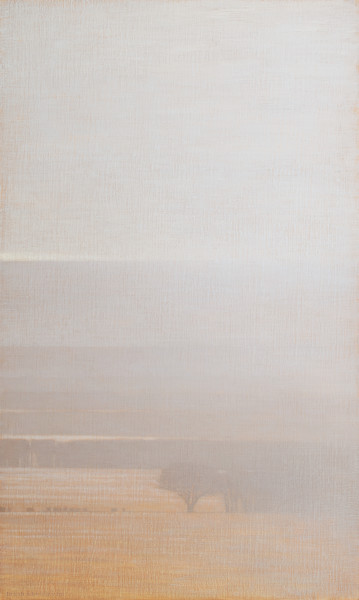 David Grossmann Winter Fields with Lightly Falling Snow Signed (bottom left) oil on linen panel 34 x 20ins (86.3 x 50.8cm)