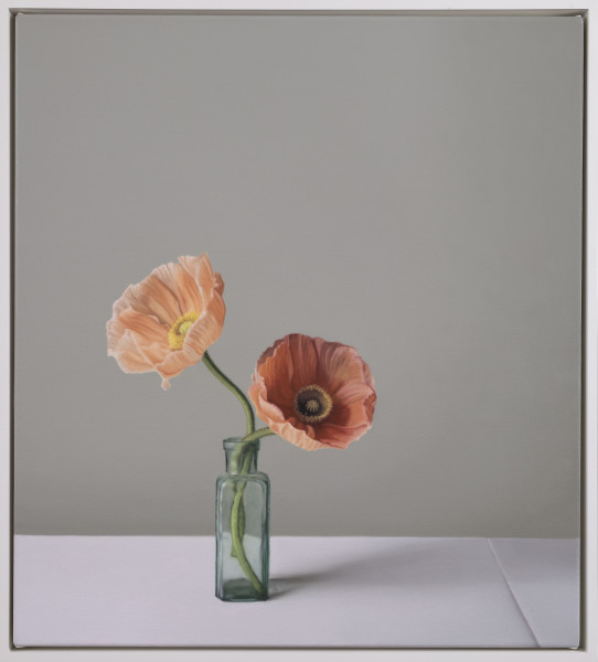 Jo Barrett, Still Life with Glass Bottle and Icelandic Poppies
