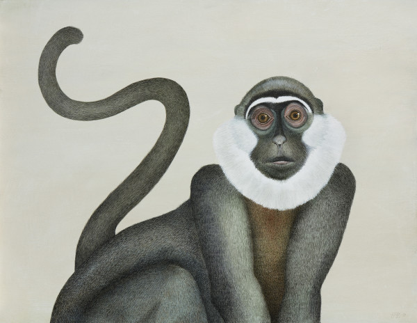 Harriet Bane White Throated Monkey Watercolour and acrylic on plaster 20 x 26 ins (51 x 66cm)