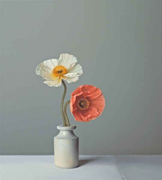 Jo Barrett, Still Life with Orange and White Icelandic Poppies