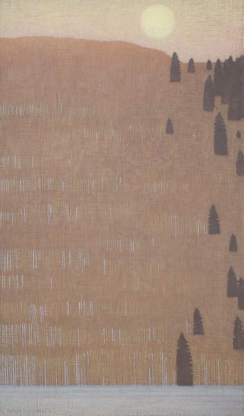 David Grossmann Pale Moon Over Winter Forest Oil on linen over panel 34 x 20ins (86.4 x 50.8cm)