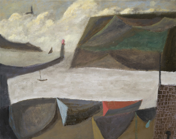 Nicholas Turner Boats in a Harbour Oil on linen 15.75 x 19.75ins (40 x 50cm)