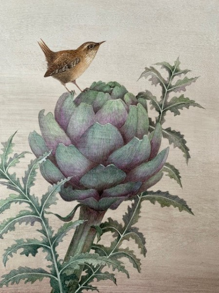 Harriet Bane Wren on an Artichoke Watercolour and acrylic on plaster 12 x 9.75ins (30.5 x 24.8cm)