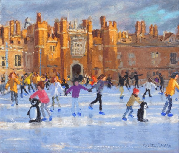 Andrew Macara Christmas Skating, Hampton Court Palace Oil on linen 12 x 14ins (30.5 x 35.6cm) (artwork size) 13 x 15ins (33 x 38cm) (framed size)