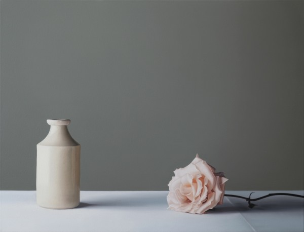 Jo Barrett, Still Life with Stoneware Bottle and Rose