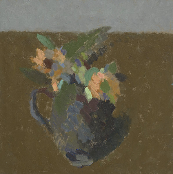 Nicholas Turner Vase with Flowers Oil on board 12 x 12ins (30.5 x 30.5cm) (artwork size) 16.1 x 16.1ins (40.9 x 40.9cm) (framed size)