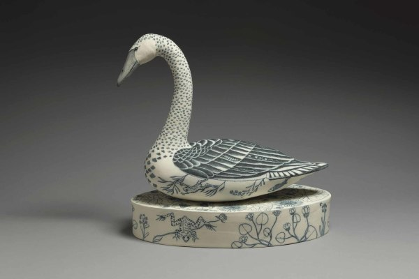 Georgina Warne Swan High fired earthenware 18 x 17.75 x 9.5ins (46 x 45 x 24cm)