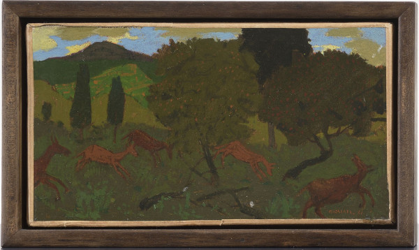 Grégoire Michonze Paysage et animaux, 1961 Signed and dated 61, and inscribed verso Oil on paper laid on canvas 4.75 x 8.5ins (12 x 21.5cm) (unframed)