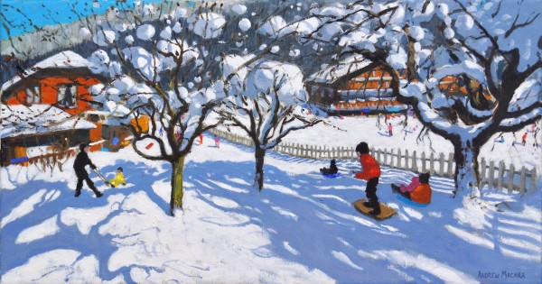 Andrew Macara The Orchard, Morzine, France Oil on linen 16 x 30ins (40.6 x 76.2cm) (artwork size) 17.8 x 31.89ins (45.2 x 81cm) (framed size)