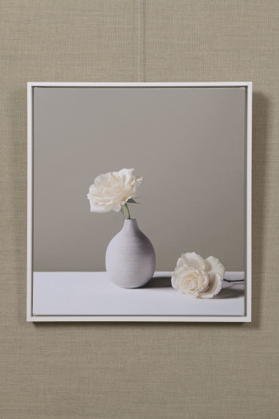 Jo Barrett, Still Life with Small Tin Glazed Bottle and Roses