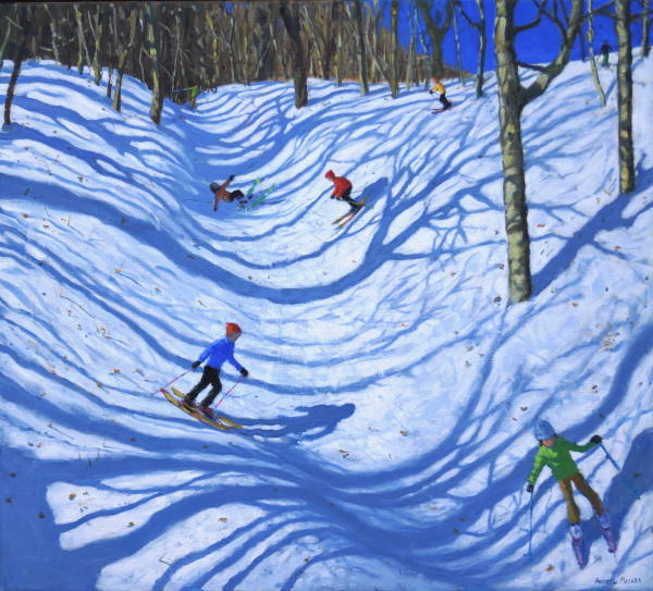 Andrew Macara Woodland Skiing Oil on linen 36 x 40ins (91.4 x 101.6cm) (artwork size) 40.04 x 44.09ins (101.7 x 112cm) (framed size)