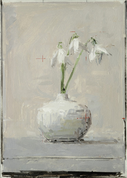 Ben Henriques Snowdrops Oil on panel 10.55 x 7.48ins (26.8 x 19cm) (artwork size) 14.17 x 11.18ins (36 x 28.4cm) (framed size)