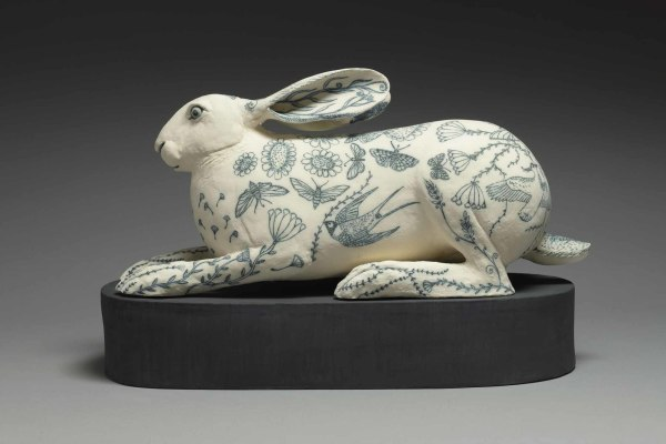 Georgina Warne Crouching Hare High fired earthenware 12.25 x 19.75 x 8.75ins (31 x 50 x 22cm)