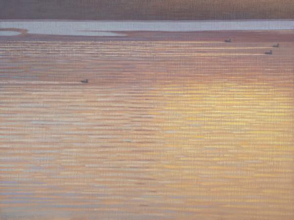 David Grossmann Winter Morning Currents Signed (bottom left) oil on linen panel 18 x 24ins (45.7 x 60.9cm)