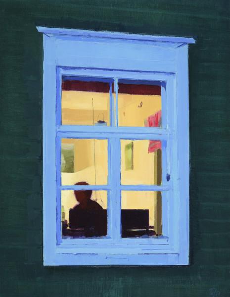 Annika Talsi  Summer Window  Oil on panel  13.75 x 10.6ins (35 x 27cm)