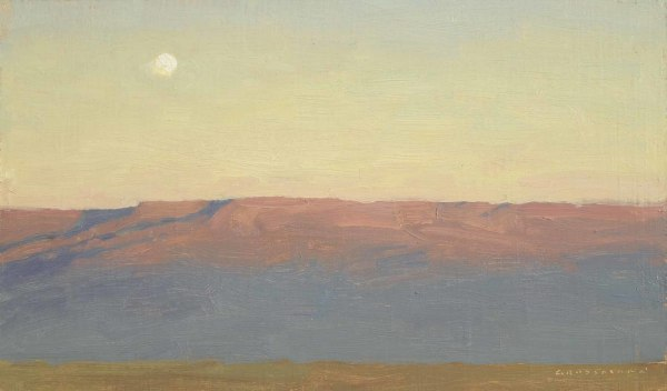 David Grossmann  Moon and Mesa at Sunset  Oil on linen over panel  7 x 12ins (17.8 x 30.5cm)