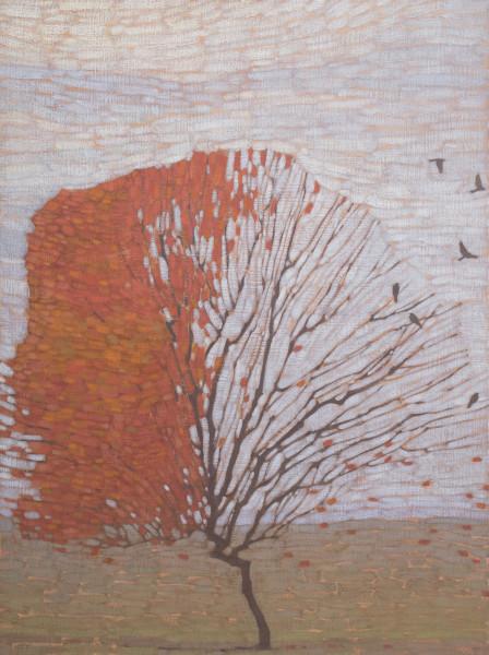 David Grossmann Autumn Tree with Birds Oil on linen over panel 40 x 30ins (101.6 x 76.2cm)