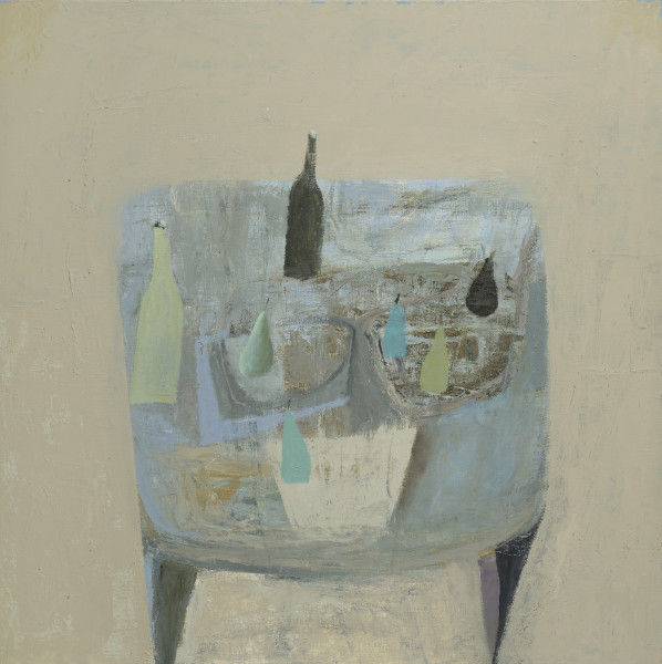 Nicholas Turner Blue Table Oil on linen 31.5 x 31.5ins (80 x 80cm) (artwork size) 34.76 x 34.76ins (88.3 x 88.3cm) (framed size)