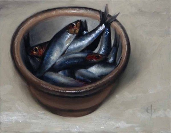 James Gillick, Sprats in a Stoneware Bowl