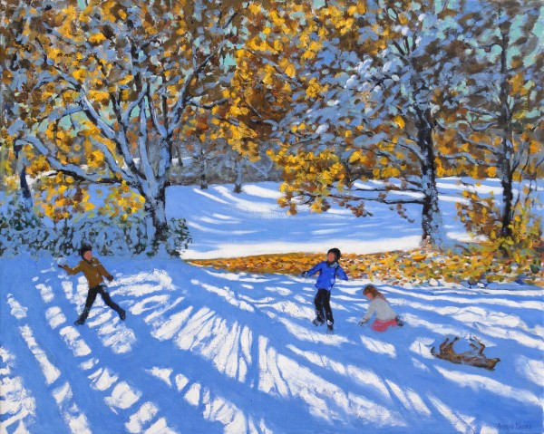 Andrew Macara Early Snow, Allestree Park, Derby Oil on linen 40 x 50ins (101.6 x 127cm) (artwork size) 4.33 x 54.13ins (11 x 137.5cm) (framed size)