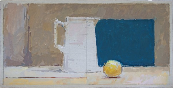 Ben Henriques Blue Square Oil on canvas 8.66 x 17.32ins (22 x 44cm)