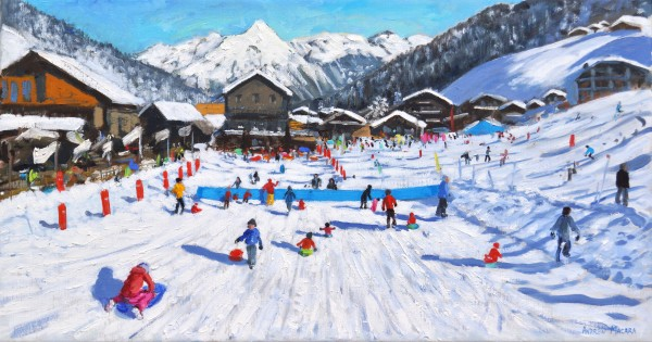 Andrew Macara Children Sledging, Les Gets, France Oil on linen 16 x 30ins (40.6 x 76.2cm) (artwork size) 17.8 x 31.89ins (45.2 x 81cm) (framed size)