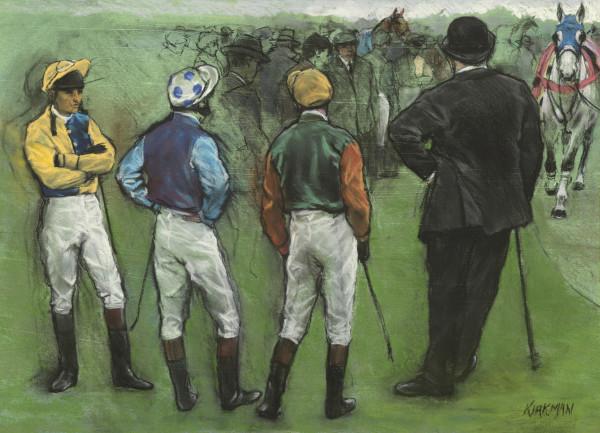 Jay Kirkman In the Paddock Pastel 22.5 x 32.3ins (57 x 82cm) (artwork size) 30.5 x 39.75ins (78 x 101cm) (framed size)