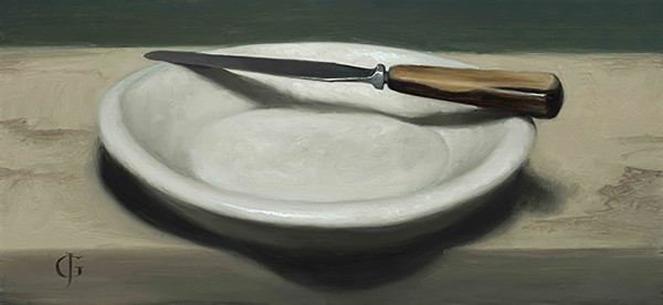 James Gillick Knife on a Stone Plate Oils on linen over panel 6.8 x 14.75ins (17.3 x 37.4cm) (artwork size) 12.8 x 20.55ins (32.5 x 52.2cm) (framed size)