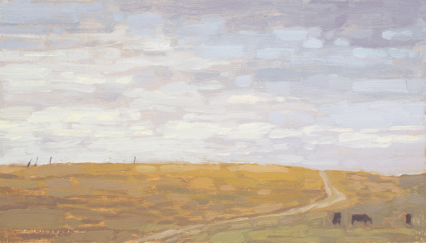 David Grossmann Pasture Road with Clouded Sky Signed (bottom left) oil on linen panel 7 x 12ins (17.7 x 30.4cm)