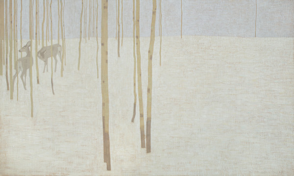 David Grossmann Two Deer in Winter Colours Oil on linen over panel 30 x 50ins (76.2 x 127cm)