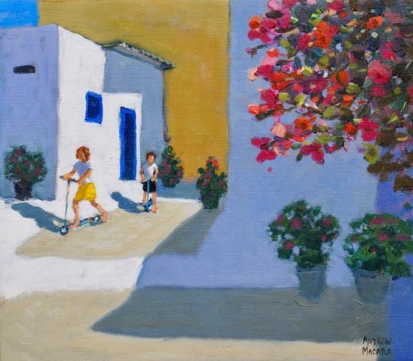 Andrew Macara Scooter Kids, Symi, Greek Islands Oil on linen 14 x 16ins (35.6 x 40.6cm) (artwork size) 15 x 16.93ins (38 x 43cm) (framed size)