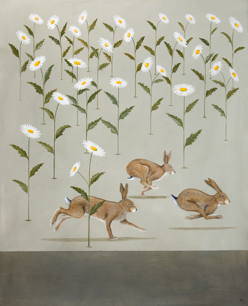 Rebecca Campbell  A Husk of Hares  Oil on linen  29.9 x 24ins (76 x 61cm)