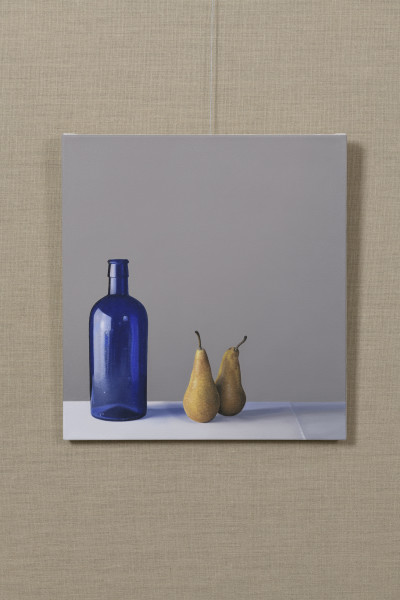 Jo Barrett Still Life with Blue Glass Bottle and Pears Oil on canvas 23.62 x 21.26ins (60 x 54cm) (artwork size)