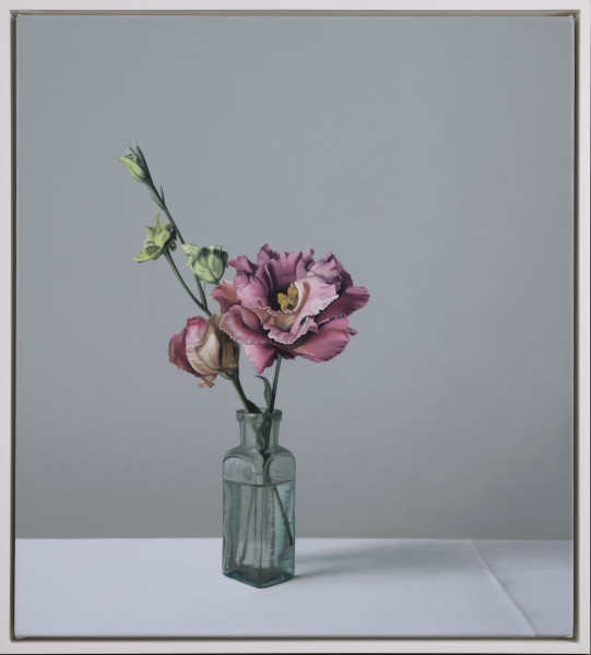 Jo Barrett Still Life with Glass Bottle and Lisianthus Oil on canvas 23.62 x 21.26ins (60 x 54cm) (artwork size) 25 x 22.44ins (63.5 x 57cm) (framed size)