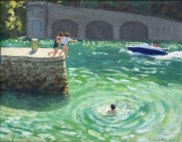 Andrew Macara, Jumping off the harbour wall, Looe