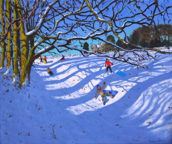 Andrew Macara Sledging down the Gully, Dam Lane, Ashbourne Oil on linen 25 x 30ins (63.5 x 76.2cm) (artwork size) 32.83 x 37.8ins (83.4 x 96cm) (framed size)