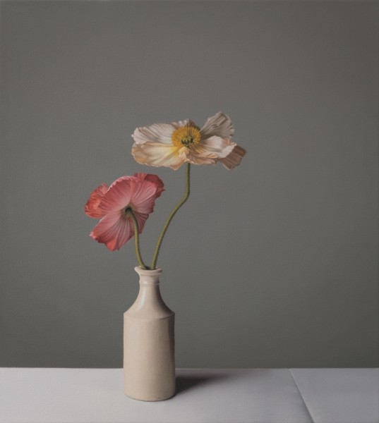 Jo Barrett Still Life with Red and Pink Icelandic Poppies Oil on canvas 23.62 x 21.26ins (60 x 54cm)