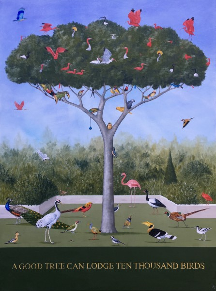 Rebecca Campbell A Good Tree Can Lodge Ten Thousand Birds Oil on linen 39.75 x 29.9ins (101 x 76cm)