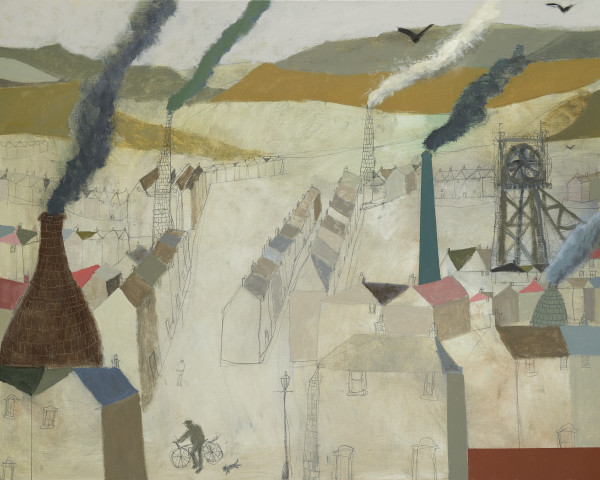 Nicholas Turner Valley with Chimneys Oil on linen 31.5 x 39.5ins (80 x 100cm) (artwork size) 34.76 x 42.64ins (88.3 x 108.3cm) (framed size)