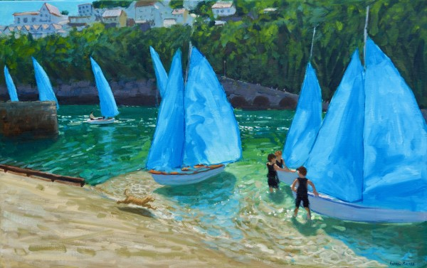 Andrew Macara Blue Sails, Looe Oil on linen 30 x 48ins (76.2 x 121.9cm) (artwork size) 38.19 x 56.3ins (97 x 143cm) (framed size)