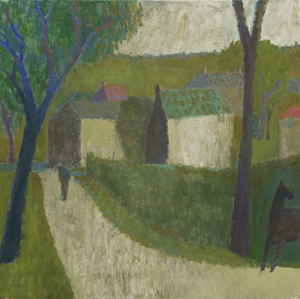 Nicholas Turner Lane with Horse Oil on linen 23.6 x 23.6ins (60 x 60cm) (artwork size) 26 x 26ins (66 x 66cm) (framed size)