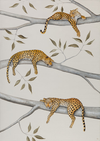 Rebecca Campbell  A Lepe of Leopards  Oil on linen  27.5 x 19.7ins (70 x 50cm)